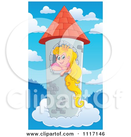 Vector Cartoon Of A Blond Princess In A Floating Sky Tower - Royalty Free Clipart Graphic by visekart