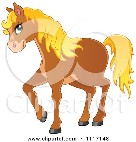 Vector Cartoon Of A Cute Brown Horse With A Blond Mane - Royalty Free Clipart Graphic by visekart