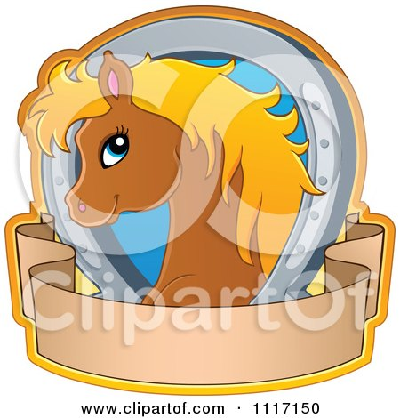 Vector Cartoon Of A Cute Brown Horse With A Blond Mane Horseshoe And Banner - Royalty Free Clipart Graphic by visekart