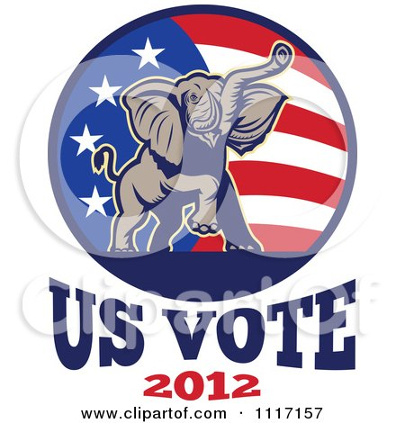 Vector Clipart Retro Republican Political Party Elephant And Flag With Us Vote 2012 Text 2 - Royalty Free Graphic Illustration by patrimonio