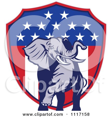 Vector Clipart Retro American Republican Political Party Elephant Over An American Shield 2 - Royalty Free Graphic Illustration by patrimonio