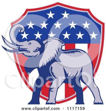 Vector Clipart Retro American Republican Political Party Elephant Over An American Shield 3 - Royalty Free Graphic Illustration by patrimonio