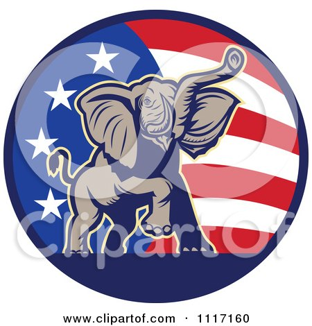 Vector Clipart Retro American Republican Political Party Elephant Over An American Circle 2 - Royalty Free Graphic Illustration by patrimonio