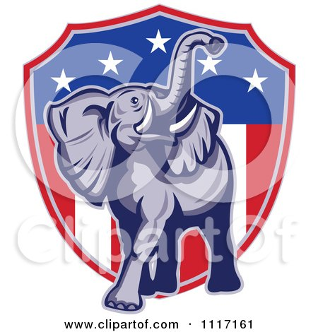 Vector Clipart Retro American Republican Political Party Elephant Over An American Shield 1 - Royalty Free Graphic Illustration by patrimonio