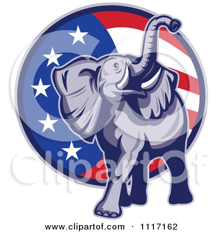 Retro American Republican Political Party Elephant Over An American Circle 3 Posters, Art Prints