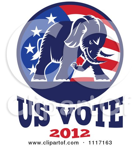 Vector Clipart Retro Republican Political Party Elephant And Flag With Us Vote 2012 Text 1 - Royalty Free Graphic Illustration by patrimonio