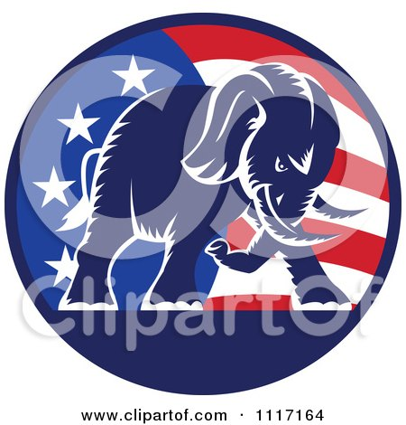 Vector Clipart Retro American Republican Political Party Elephant Over An American Circle 1 - Royalty Free Graphic Illustration by patrimonio