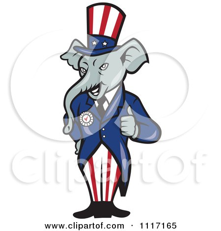 Cartoon Of A Retro Republican GOP Party Elephant Uncle Sam Holding A Thumb Up - Royalty Free Vector Clipart by patrimonio