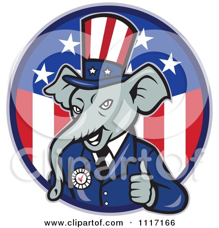 Cartoon Of A Retro Republican GOP Party Elephant Uncle Sam Holding A Thumb Up Over An American Circle - Royalty Free Vector Clipart by patrimonio
