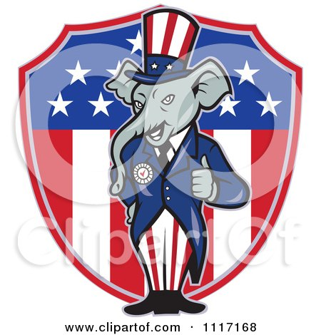 Cartoon Of A Retro Republican GOP Party Elephant Uncle Sam Holding A Thumb Up Over An American Shield - Royalty Free Vector Clipart by patrimonio