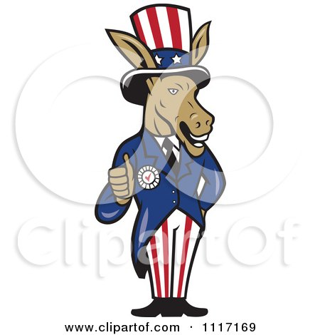Cartoon Of A Retro Democratic Party Donkey Uncle Sam Holding A Thumb Up - Royalty Free Vector Clipart by patrimonio