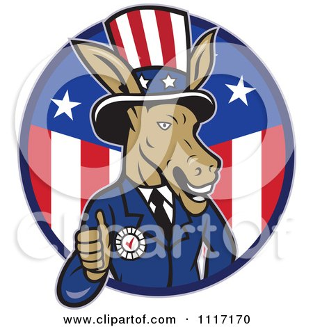 Cartoon Of A Retro Democratic Party Donkey Uncle Sam Giving A Thumb Up In An American Circle - Royalty Free Vector Clipart by patrimonio