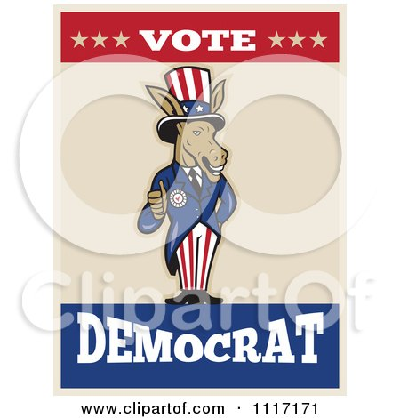 Retro Democratic Party Donkey Uncle Sam Holding A Thumb Up With VOTE DEMOCRAT Text Posters, Art Prints