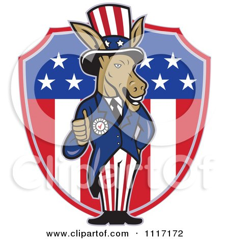 Cartoon Of A Retro Democratic Party Donkey Uncle Sam Holding A Thumb Up Over An American Shield - Royalty Free Vector Clipart by patrimonio