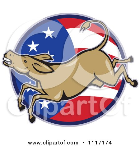 Retro Democratic Party Donkey Bucking Over An American Flag Circle Posters, Art Prints