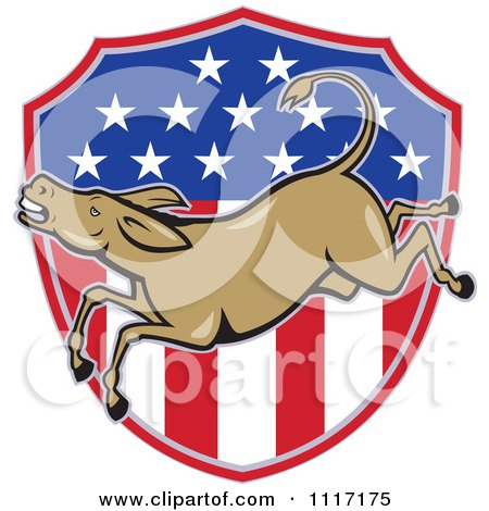 Cartoon Of A Retro Democratic Party Donkey Bucking Over An American Flag Shield - Royalty Free Vector Clipart by patrimonio