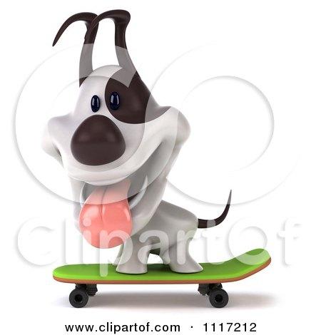 Clipart 3d Jack Russell Terrier Dog Skateboarding 4 - Royalty Free CGI Illustration by Julos