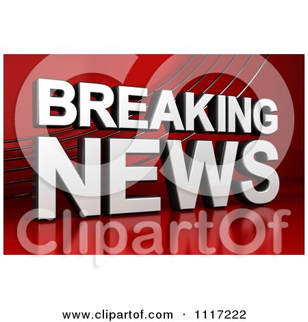 Clipart Of A 3d Breaking News Television Text On Red - Royalty Free CGI Illustration by stockillustrations