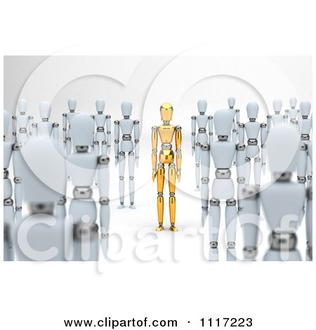Clipart Of A 3d Unique Gold Mannequin Standing Out In A Crowd Of White Dummies - Royalty Free CGI Illustration by stockillustrations
