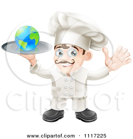 Cartoon Happy Chef Holding A Globe On A Platter - Royalty Free Vector Clipart by AtStockIllustration
