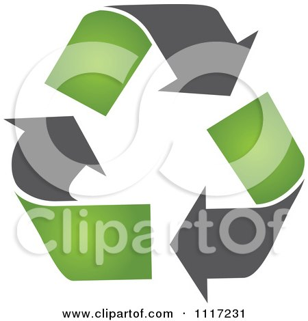 Vector Clipart Of A Green And Black Green Energy Recycle Icon 1 - Royalty Free Graphic Illustration by Andrei Marincas