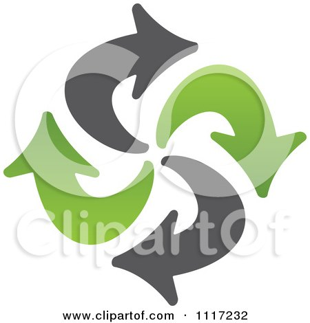 Vector Clipart Of A Green And Black Green Energy Recycle Icon 3 - Royalty Free Graphic Illustration by Andrei Marincas