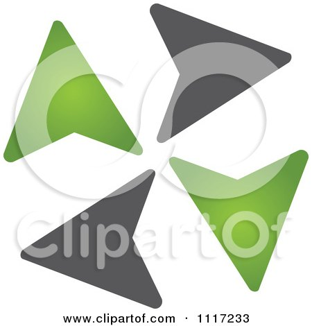 Vector Clipart Of A Green And Black Green Energy Recycle Icon 4 - Royalty Free Graphic Illustration by Andrei Marincas