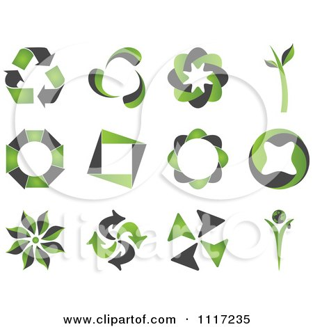 Vector Clipart Of Green And Black Green Energy Recycle Icons - Royalty Free Graphic Illustration by Andrei Marincas