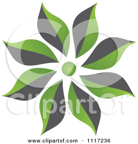 Vector Clipart Of A Green And Black Green Sustainable Energy Flower Icon - Royalty Free Graphic Illustration by Andrei Marincas