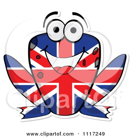 Cartoon Of A British Flag Frog - Royalty Free Vector Clipart by Andrei Marincas
