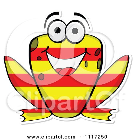 Vector Clipart Happy Australian Flag Frog - Royalty Free Graphic Illustration by Andrei Marincas
