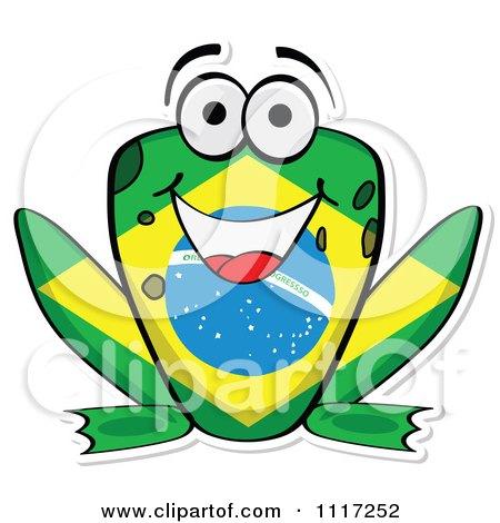 Cartoon Of A Brazilian Flag Frog - Royalty Free Vector Clipart by Andrei Marincas