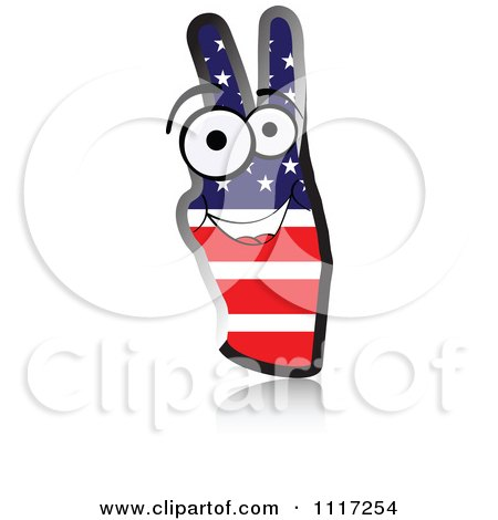 Vector Clipart Of A Happy American Flag Peace Hand - Royalty Free Graphic Illustration by Andrei Marincas