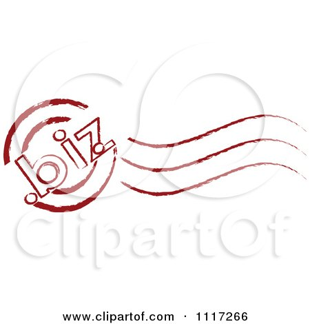 Vector Clipart Of A Red Dot Biz Postmark Stamp - Royalty Free Graphic Illustration by Andrei Marincas