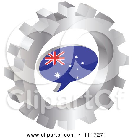 Vector Clipart Of A 3d Australian Flag Chat Balloon In A Silver Gear - Royalty Free Graphic Illustration by Andrei Marincas