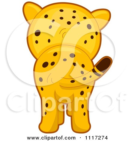 Cartoon Of A Rear View Of A Cute Cheetah - Royalty Free Vector Clipart by BNP Design Studio