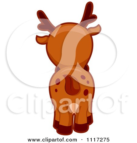 Cartoon Of A Rear View Of A Cute Deer - Royalty Free Vector Clipart by BNP Design Studio