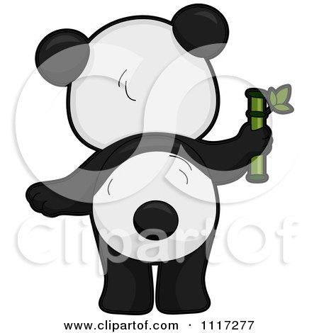 Cartoon Of A Rear View Of A Cute Panda With Bamboo - Royalty Free Vector Clipart by BNP Design Studio