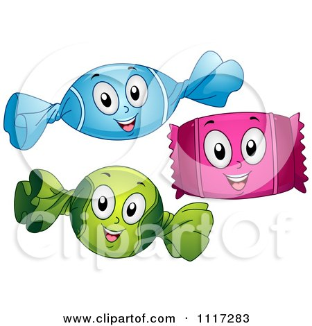 Cartoon Of Happy Wrapped Candies - Royalty Free Vector Clipart by BNP Design Studio