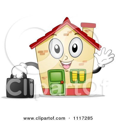 Cartoon Of A Happy House Mascot Waving And Holding A Briefcase - Royalty Free Vector Clipart by BNP Design Studio