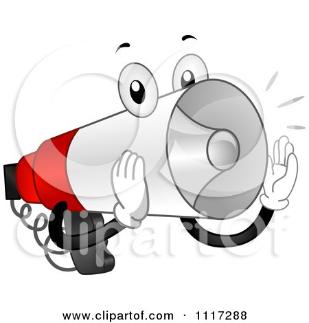 Cartoon Of A Loud Megaphone Making An Announcement - Royalty Free Vector Clipart by BNP Design Studio