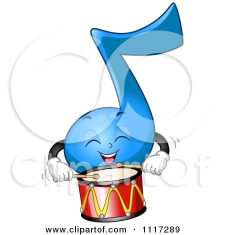 Cartoon Of A Happy Blue Music Note Playing The Drums - Royalty Free Vector Clipart by BNP Design Studio