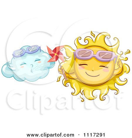 Cartoon Of A Happy Sun Holding A Pinmill By A Cloud - Royalty Free Vector Clipart by BNP Design Studio
