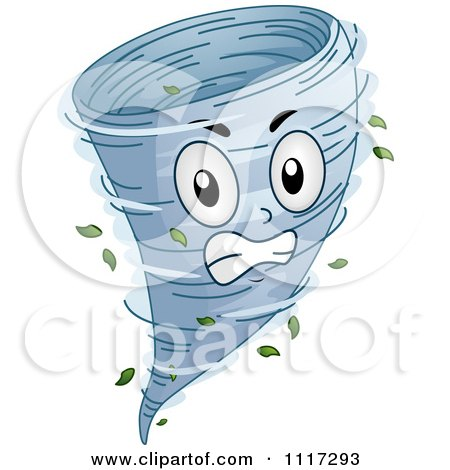 Cartoon Of An Angry Spinning Tornado - Royalty Free Vector Clipart by BNP Design Studio