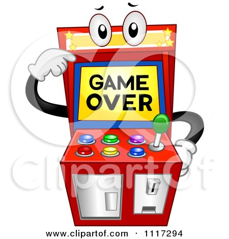 Cartoon Of An Arcade Video Game Pointing To Its Over Screen - Royalty Free Vector Clipart by BNP Design Studio
