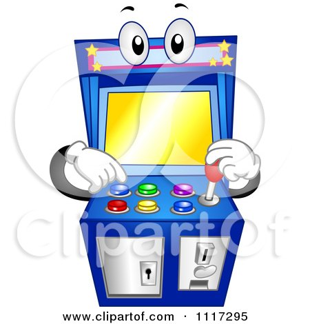 Cartoon Of An Arcade Video Game Machine With Buttons And A Joystick - Royalty Free Vector Clipart by BNP Design Studio