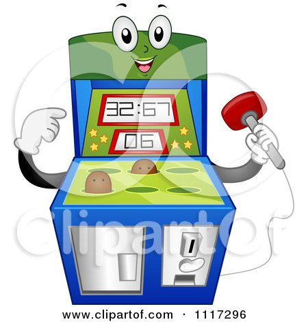 Cartoon Of A Happy Mole Whack Arcade Video Game Machine - Royalty Free Vector Clipart by BNP Design Studio