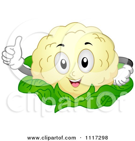 Cartoon Of A Happy Cauliflower Holding A Thumb Up - Royalty Free Vector Clipart by BNP Design Studio