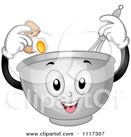 Cartoon Of A Happy Mixing Bowl Cracking An Egg And Using A Whisk - Royalty Free Vector Clipart by BNP Design Studio