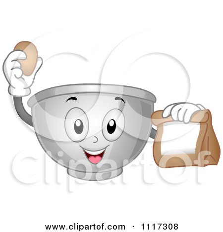 Cartoon Of A Happy Mixing Bowl Holding An Egg And Bag - Royalty Free Vector Clipart by BNP Design Studio